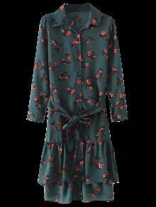 فستان شيرت مربوط كشكش الحاشية - مسود الخضراء M