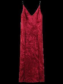 Crushed Velvet Cami Slip Dress - Red M