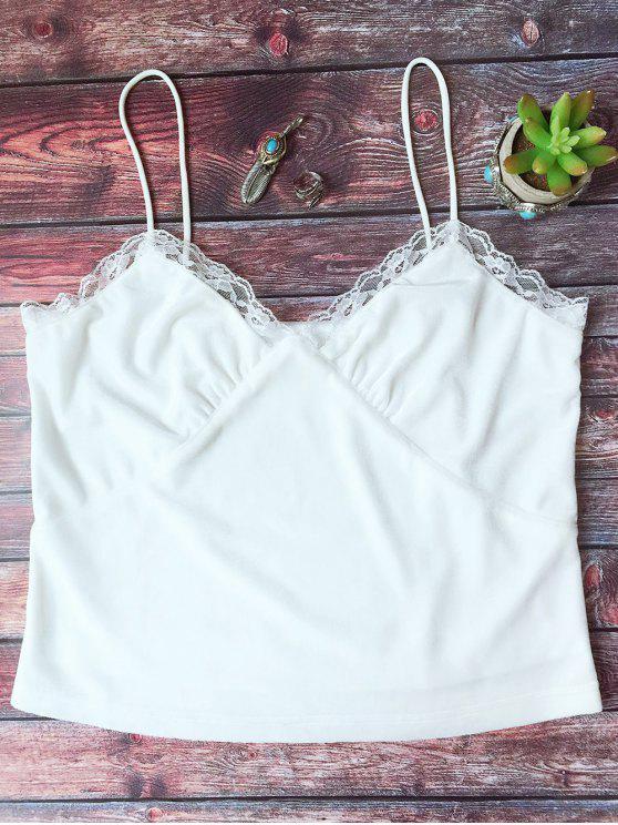 shop Lace Trim Velvet Camisole Top - WHITE L