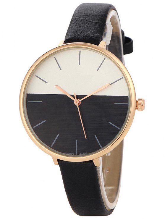 Relógio Mostrador de Metal Sem Números e Pulseira de Couro Falso - Preto