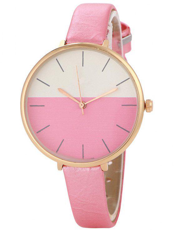 sale Color Block Quartz Watch - PINK