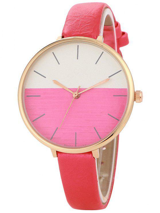 affordable Color Block Quartz Watch - RED