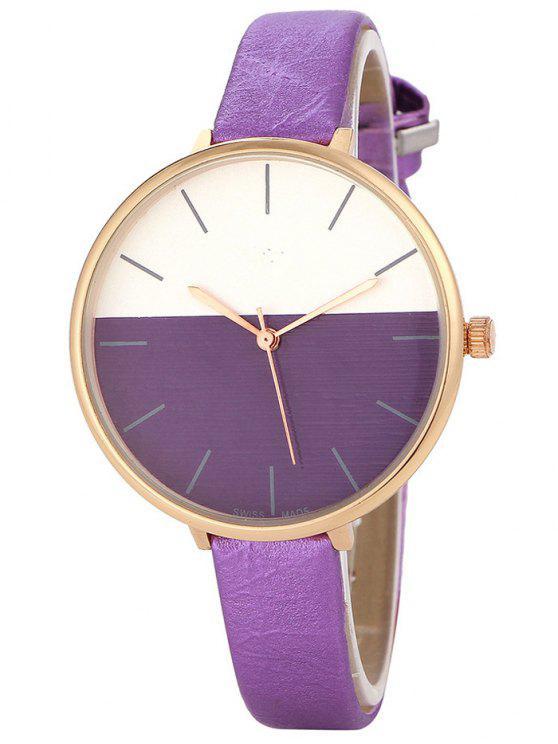 buy Color Block Quartz Watch - PURPLE