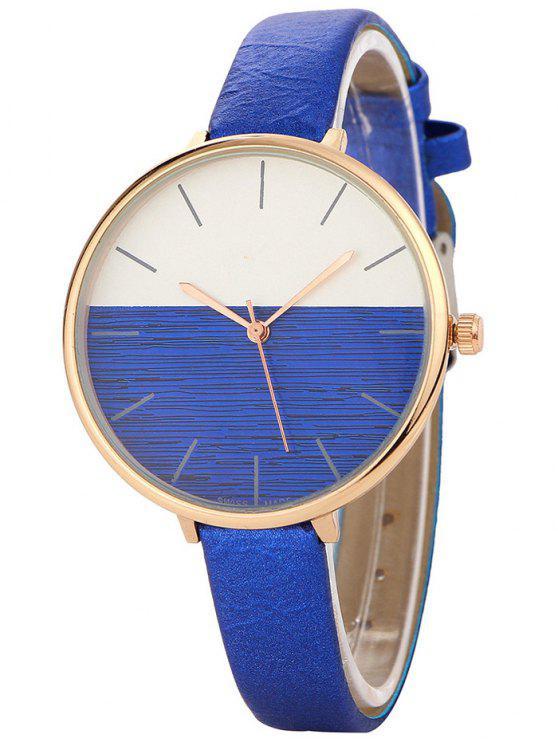 Relógio Mostrador de Metal Sem Números e Pulseira de Couro Falso - Azul