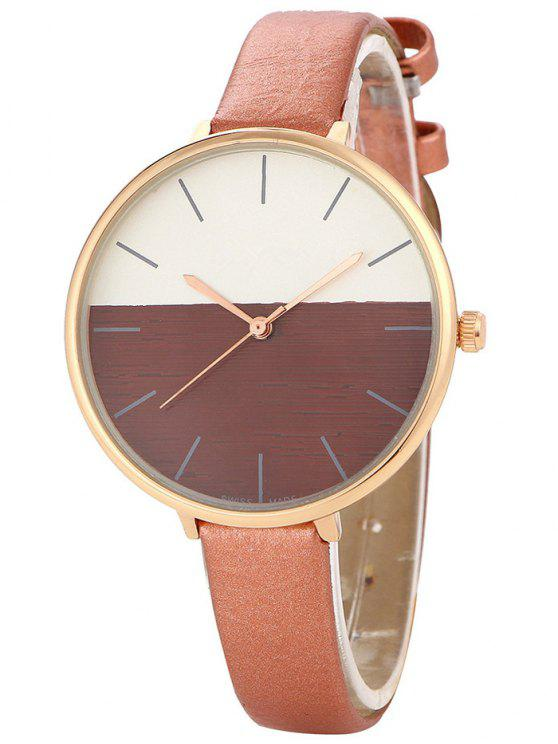 women Color Block Quartz Watch - BROWN