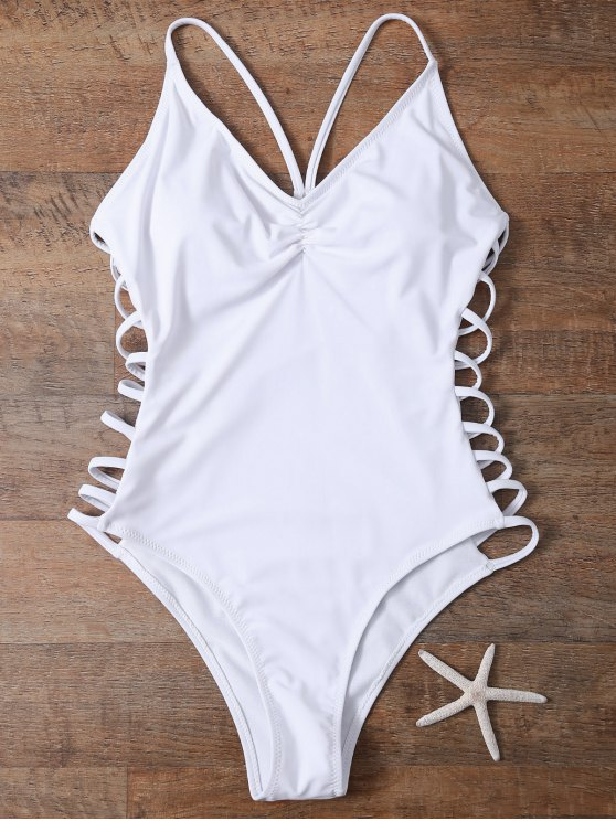 ladies Cutout High Cut One-Piece Swimwear - WHITE L
