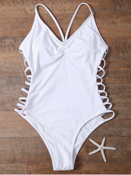 بدلة سباحة من قطعة واحدة بفتحات جانبية - أبيض S