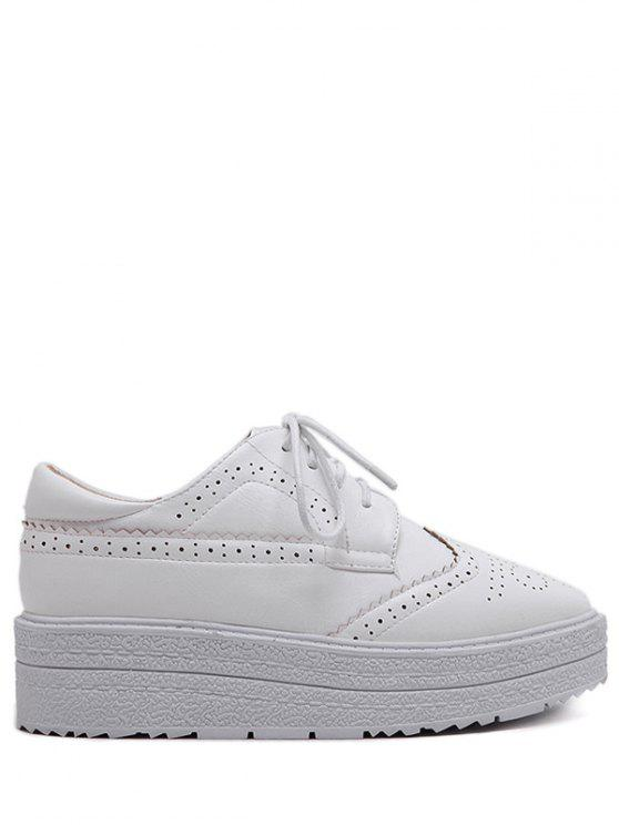 womens Faux Leather Wingtip Tie Up Platform Shoes - WHITE 39