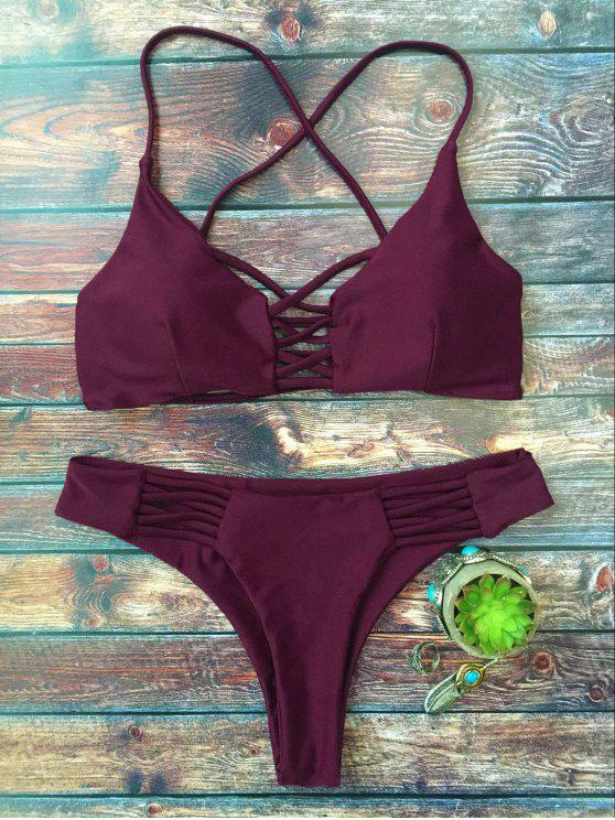 shops Lace-Up Cutout Strappy Bikini Set - PURPLE L