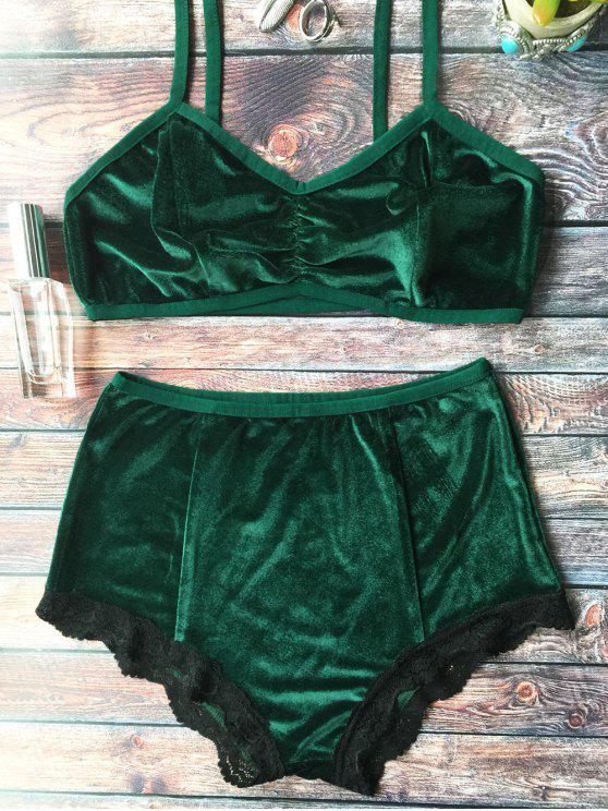 Conjunto de sujetador de terciopelo con cintura alta de encaje dobladillo - Verde negruzco M