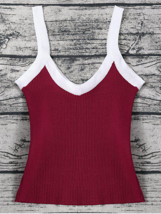 outfit Color Block Knitted Ribbed Tank Top - WINE RED ONE SIZE