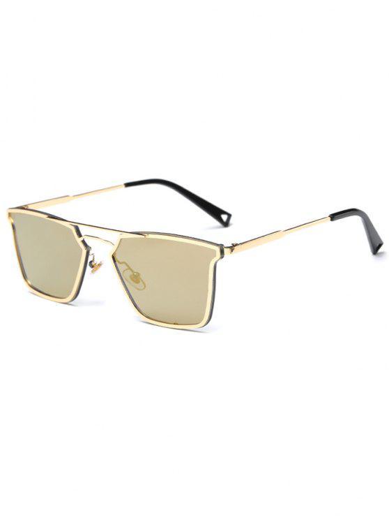 unique Irregular Double Rims Mirrored Sunglasses - GOLDEN