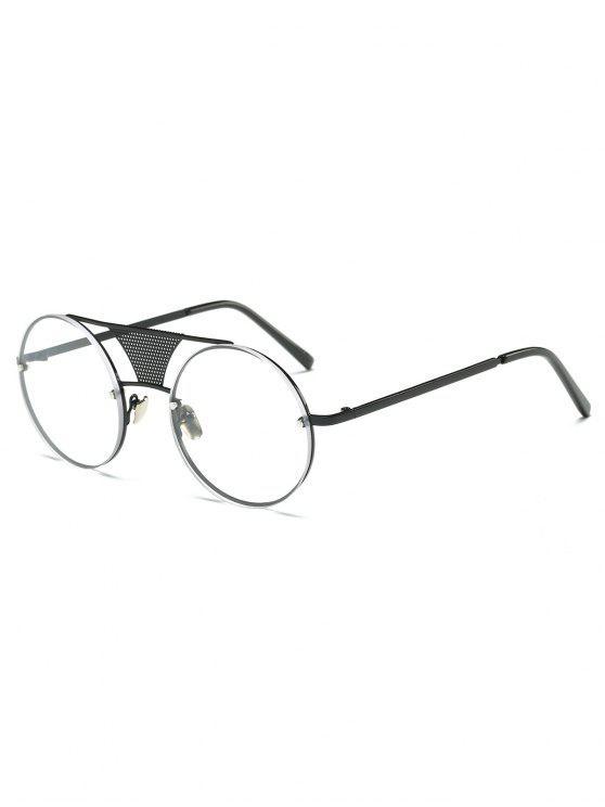 Calado transparente de malla de gafas de sol redondas de la lente - Negro