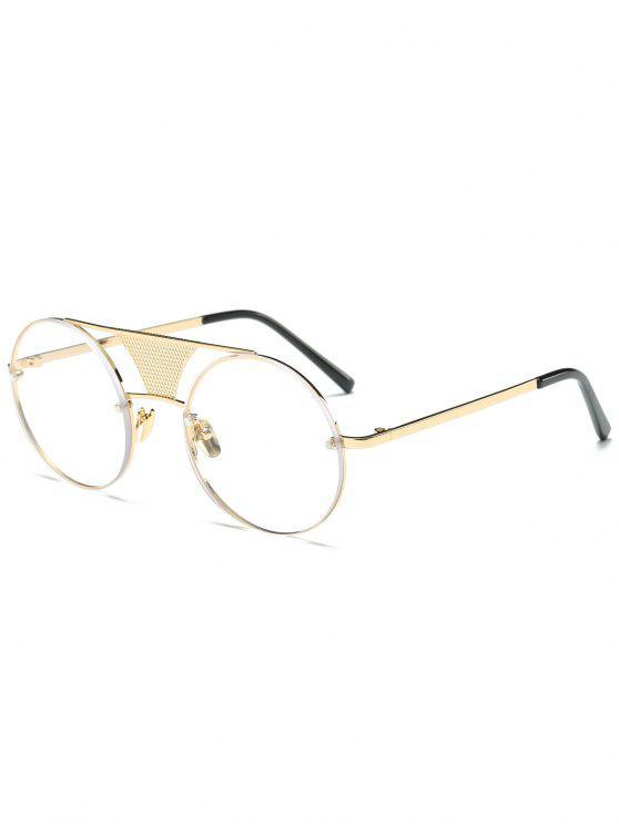 ladies Openwork Mesh Transparent Lens Round Sunglasses - GOLDEN