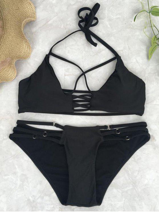 Crossover recorte Conjunto Bikini - Negro L