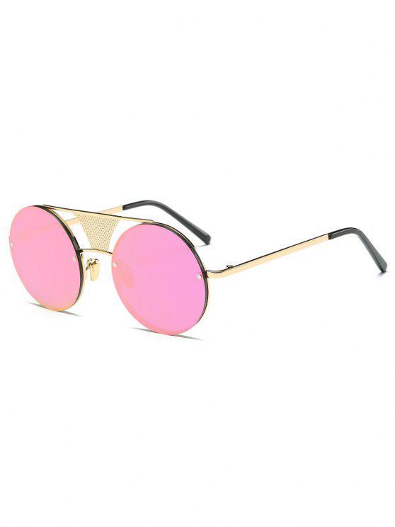 online Openwork Mesh Mirrored Round Sunglasses - PINK