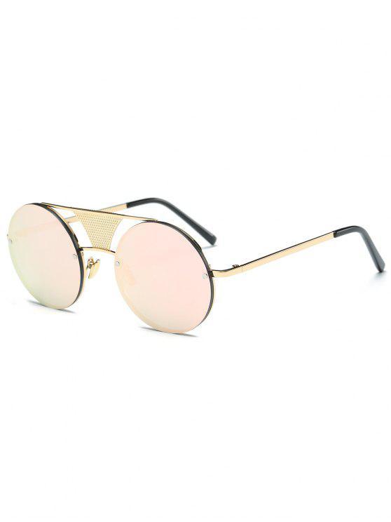 Calados de malla con espejo gafas de sol redondas - Rosado Claro