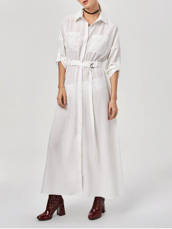 c74ff33a599b 36% OFF  2019 Button Up Belted Maxi Shirt Dress In WHITE