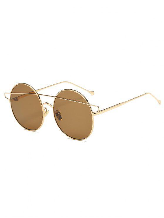 Crossover con espejo gafas de sol redondas - Dorado