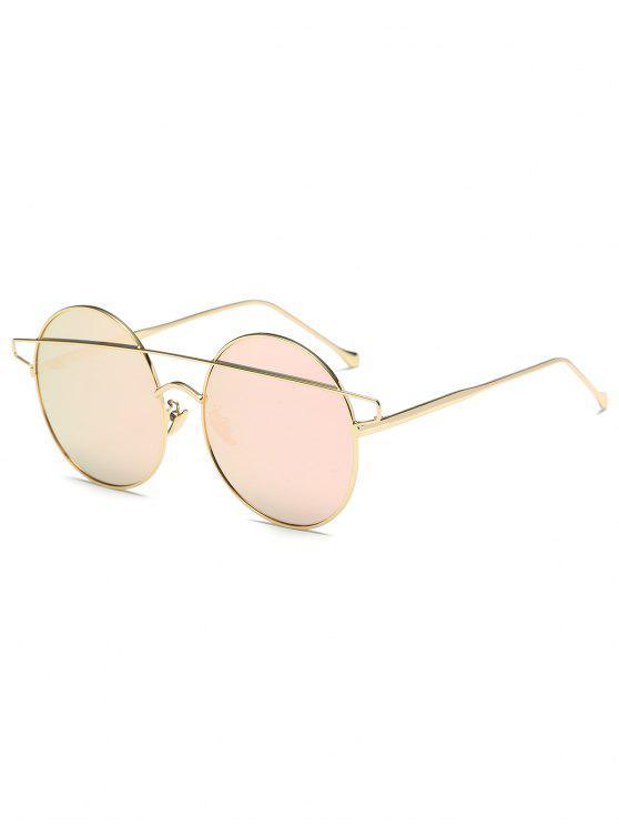 Crossover con espejo gafas de sol redondas - Rosa
