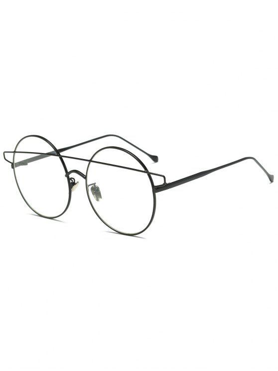 fashion Transparent Lens Crossover Round Sunglasses - BLACK