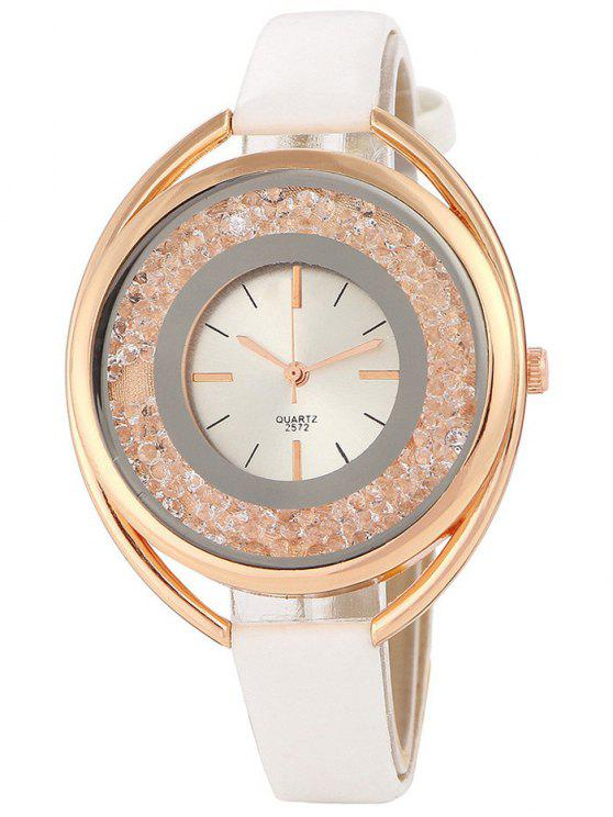 shop Faux Leather Rhinestone Analog Quartz Watch - WHITE