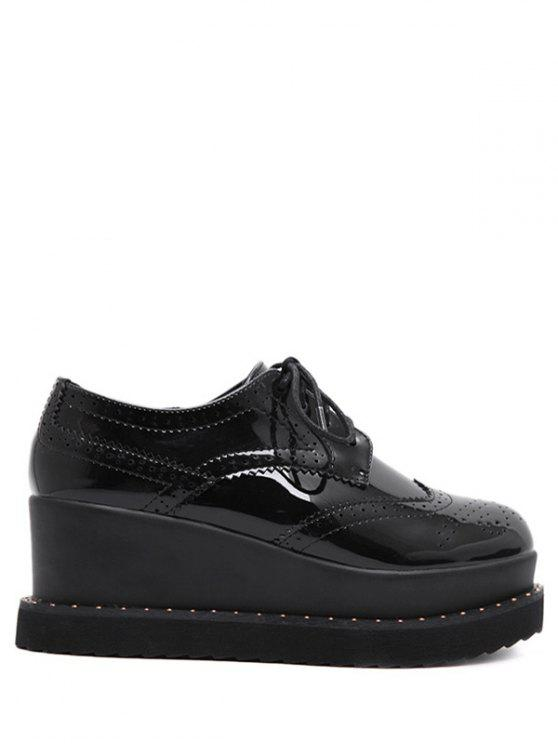 buy Tie Up Round Toe Wedge Wingtip Shoes - BLACK 38