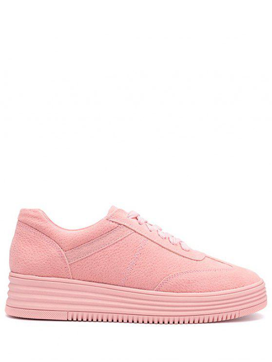best PU Leather Tie Up Round Toe Athletic Shoes - PINK 38