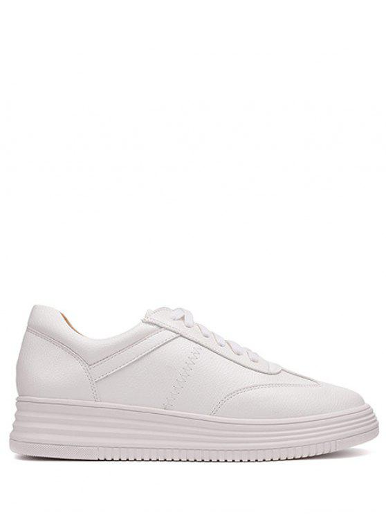 hot PU Leather Tie Up Round Toe Athletic Shoes - WHITE 38