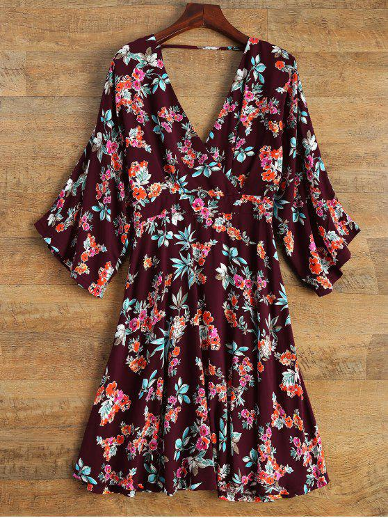 outfits Wide Sleeve Floral Print Crossover Dress - BURGUNDY L