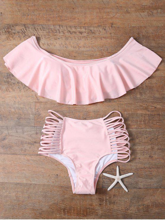 new Off The Shoulder Cutout Flounced Bikini Set - PINK S