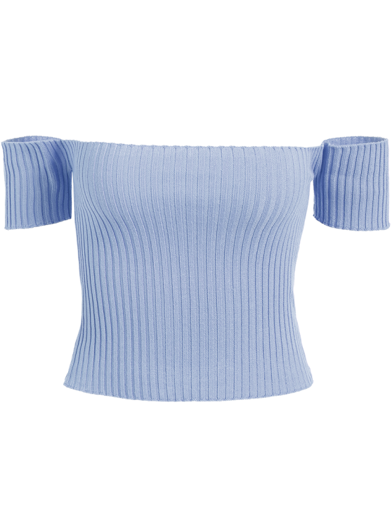 Off The Shoulder Rib Knit Crop Top LIGHT BLUE: Sweaters ...