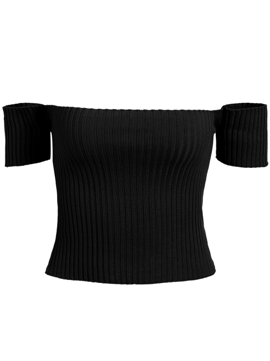 unique Off The Shoulder Rib Knit Crop Top - BLACK ONE SIZE