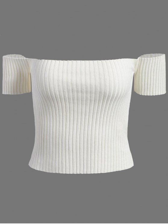 sale Off The Shoulder Rib Knit Crop Top - WHITE ONE SIZE