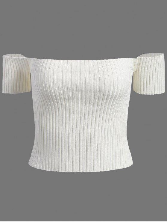 Fuera del hombro de punto acanalado Camisa corta - Blanco Única Talla