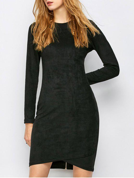 unique Back Zip Faux Suede Bodycon Dress - BLACK S