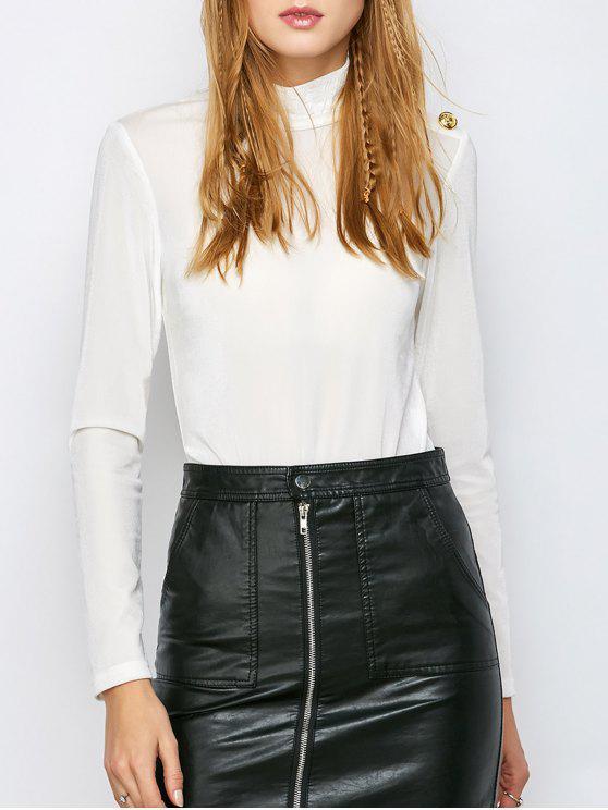 عالية الياقة المخملية الملابس الضيقة - أبيض فاتح M