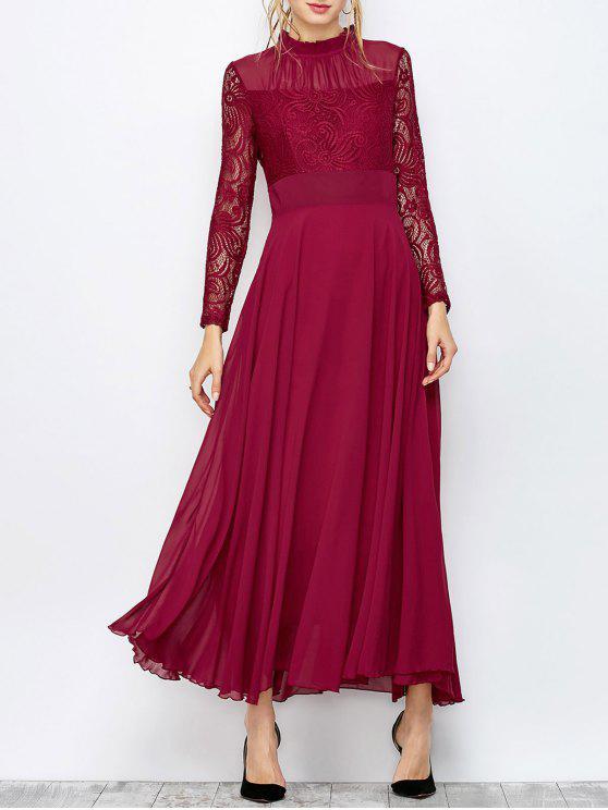 فستان ماكسي دانتيل كشكش الرقبة - عنابي اللون L