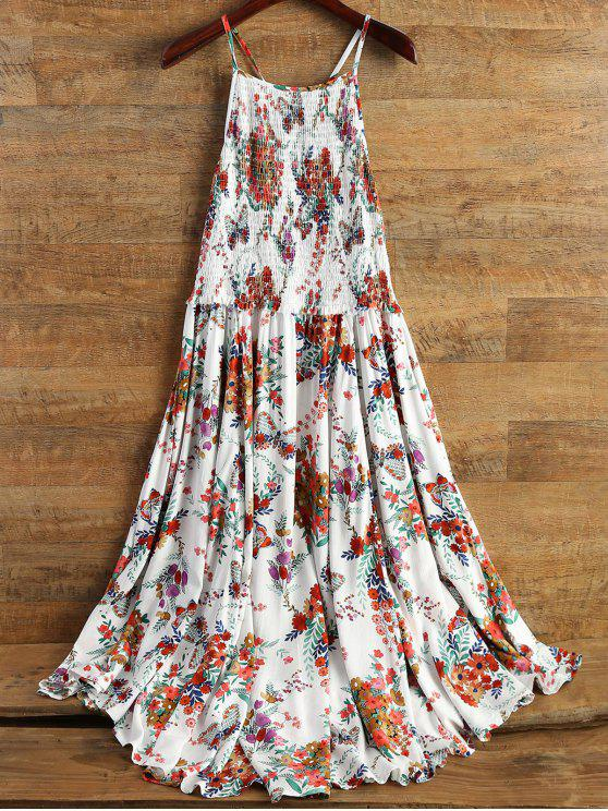 fashion Smocked Flowing Cami Floral Dress - FLORAL S