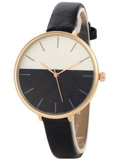 Color Block Quartz Watch - Black