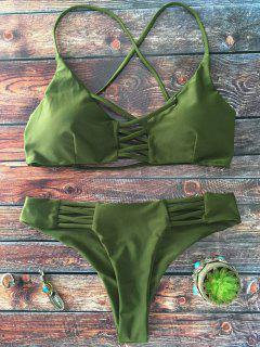 Lace-Up Cutout Strappy Bikini Set - Green M