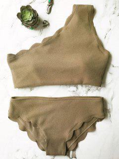 Wireless Scalloped One Shoulder Bathing Suit - Grey Olive M