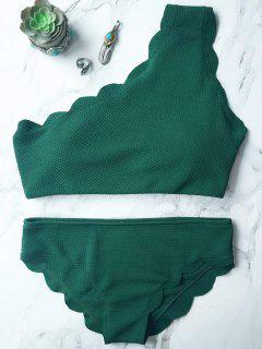 Wireless Scalloped One Shoulder Bathing Suit - Blackish Green S