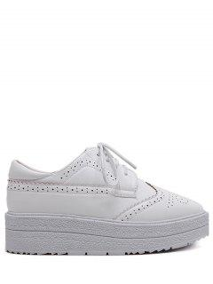 Faux Leather Wingtip Tie Up Platform Shoes - White 39