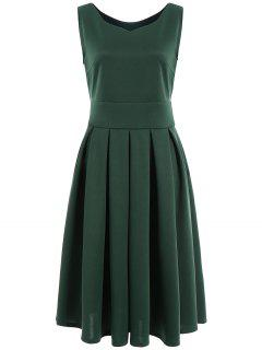 Pleated Sweetheart Neck Midi Sheath Dress - Green L