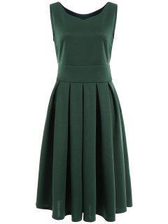 Vestido De Cuello De Plisado Cuello De Midi - Verde L