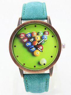 Table Tennis Printed Artificial Leather Watch - Green