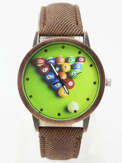 Table Tennis Printed Artificial Leather Watch - Brown