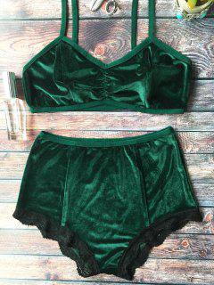 Lace Hem High Waisted Velvet Bra Set - Blackish Green S