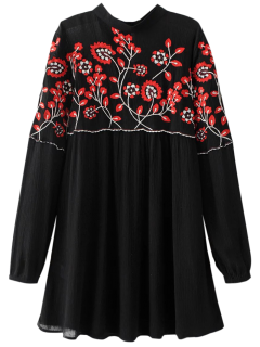 Stand Neck Floral Embroidered Dress - Black M